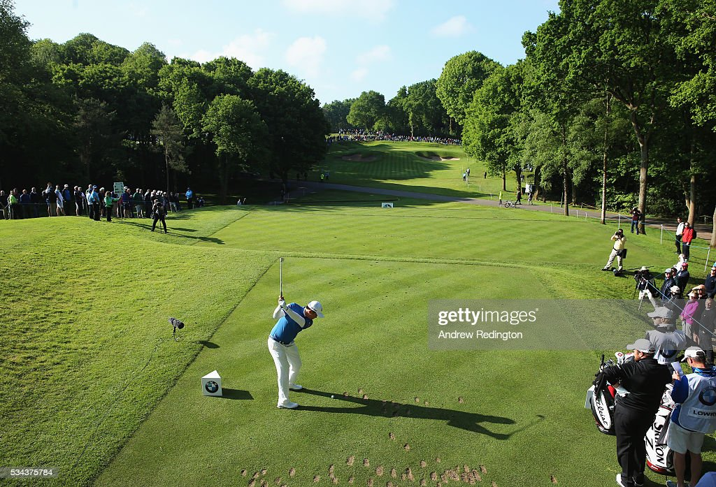 Byeong Hun An of Korea tees off on the 2nd hole during day one of the BMW PGA Championship at Wentworth on May 26, 2016 in Virginia Water, England.