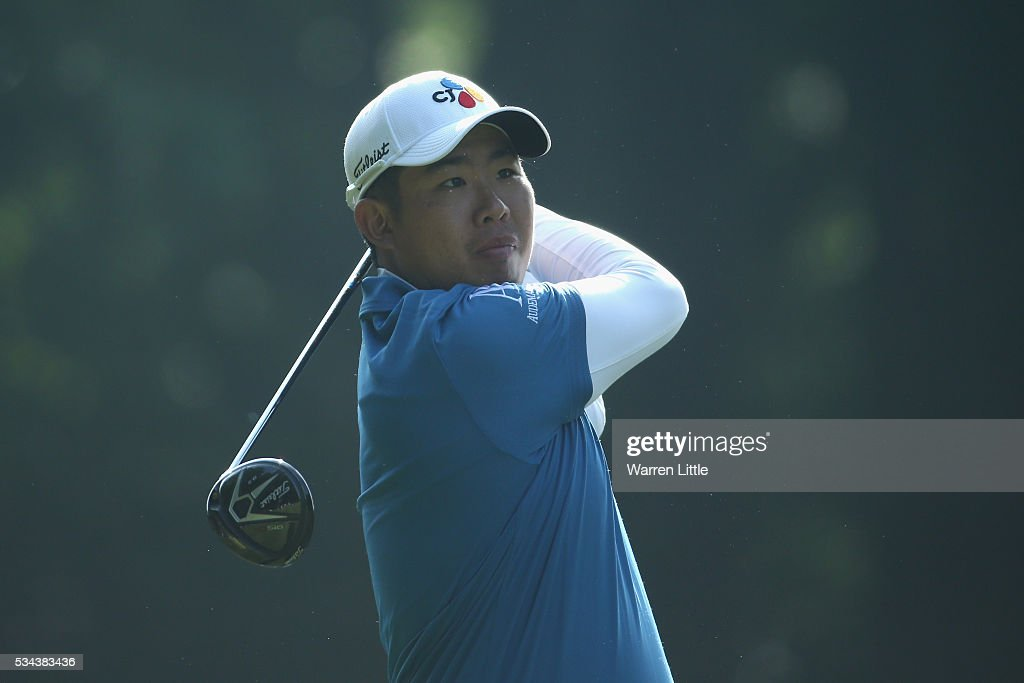 Byeong Hun An of Korea tees off on the 3rd hole during day one of the BMW PGA Championship at Wentworth on May 26, 2016 in Virginia Water, England.