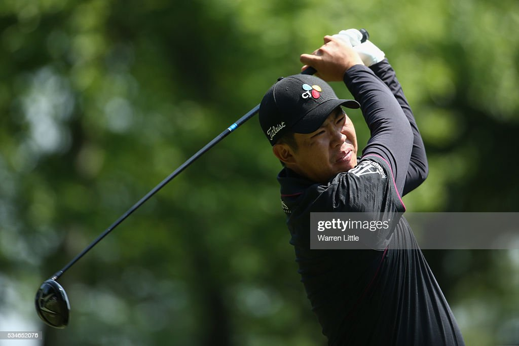 Byeong Hun An of Korea tees off on the 3rd hole during day two of the BMW PGA Championship at Wentworth on May 27, 2016 in Virginia Water, England.