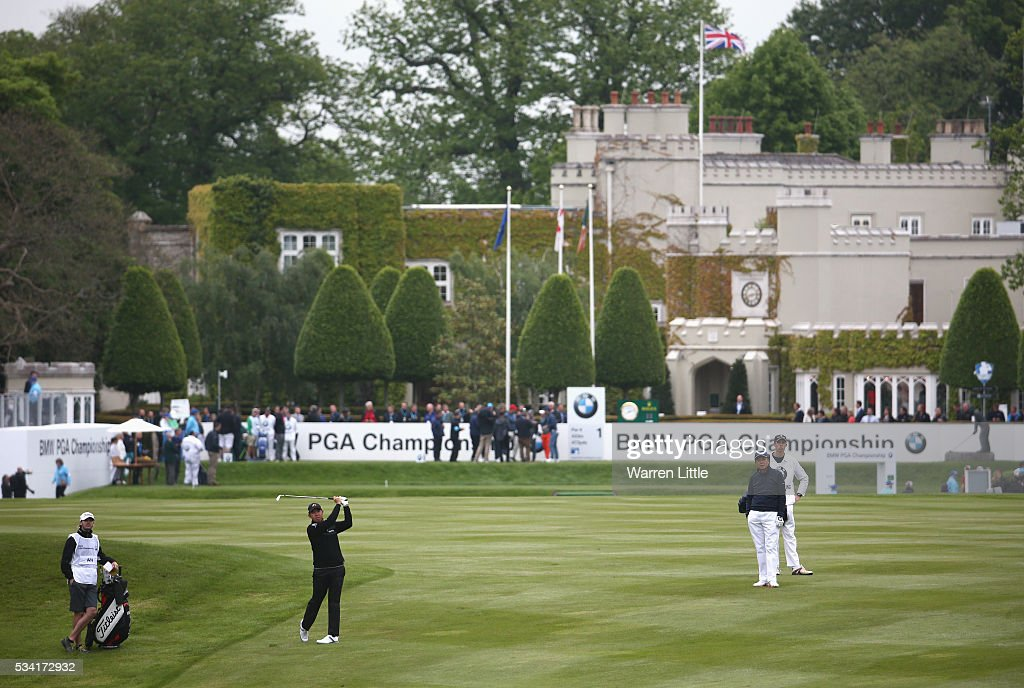 Byeong Hun An of South Korea plays his second shot on the 1st hole during the Pro-Am prior to the BMW PGA Championship at Wentworth on May 25, 2016 in Virginia Water, England.