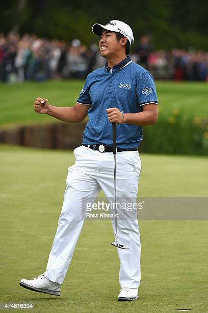 ByeongHun An of South Korea celebrates victory on the 18th green during day 4 of the BMW PGA Championship at Wentworth on May 24 2015 in Virginia...