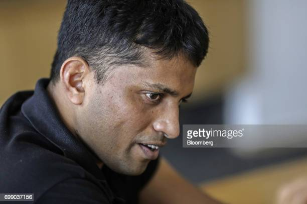 Byju Raveendran founder and chief executive officer of Think and Learn Pvt speaks during an interview at the company's office in Bengaluru India on...
