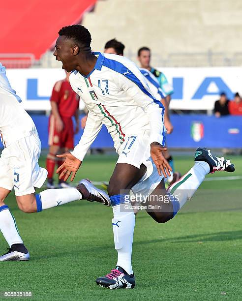 Byoti Moise Kean of Italy celebrates after scoring the goal 11 during the international friendly match between Italy U17 and Spain U17 on January 20...