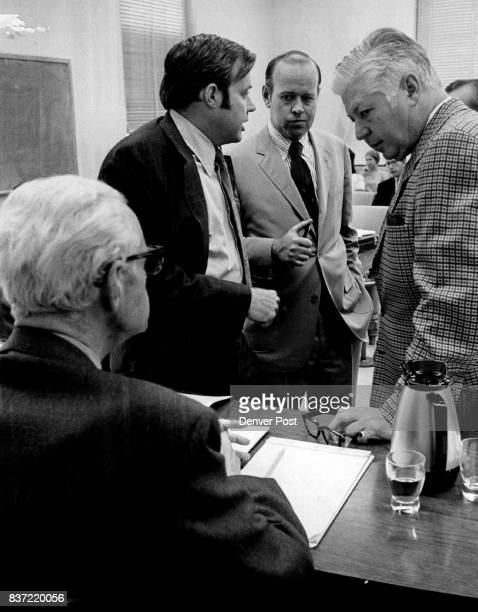 Byron Anderson Seated Confers With Principals In Lottery Case With Anderson from left are Jon Holm Jarvis Seccombe and AI Norbont Credit Denver Post