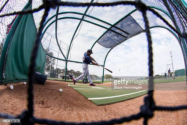 Byron Buxton of the Minnesota Twins bats at spring training on February 26 2014 at Hammond Stadium in Fort Myers Florida