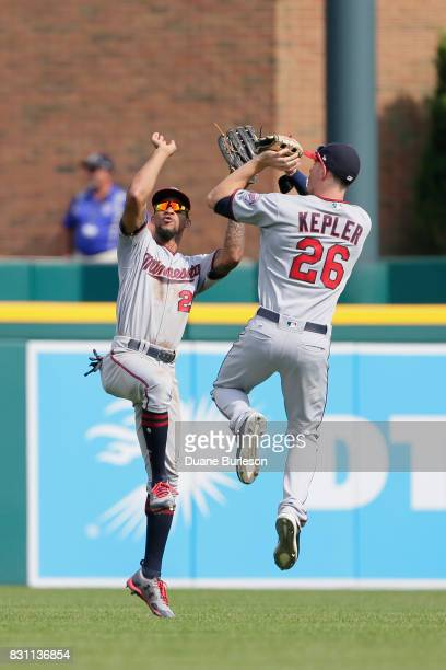 Byron Buxton of the Minnesota Twins celebrates with Max Kepler of the Minnesota Twins after a 64 win over the Detroit Tigers at Comerica Park on...
