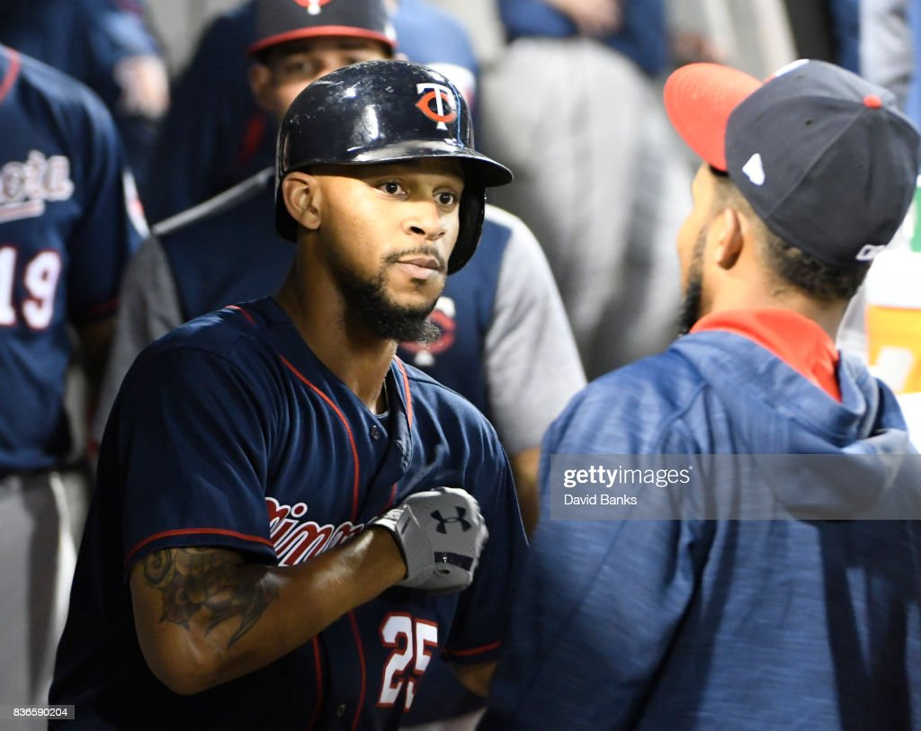 Byron Buxton #25 of the Minnesota Twins is greeted by his teammates after hitting a home run against the Chicago White Sox during the fifth inning in game two of a doubleheader on August 21, 2017 at Guaranteed Rate Field in Chicago, Illinois.