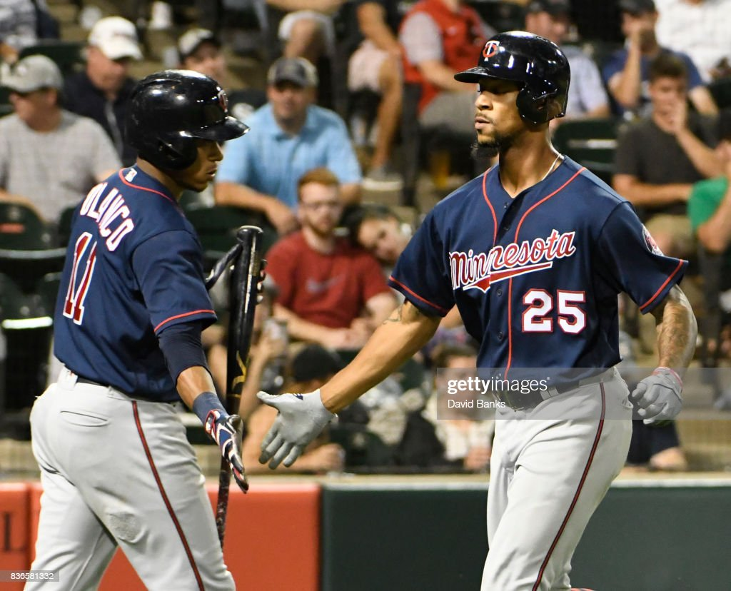 Byron Buxton #25 of the Minnesota Twins is greeted by Jorge Polanco #11 after hitting a home run against the Chicago White Sox during the fifth inning in game two of a doubleheader on August 21, 2017 at Guaranteed Rate Field in Chicago, Illinois.
