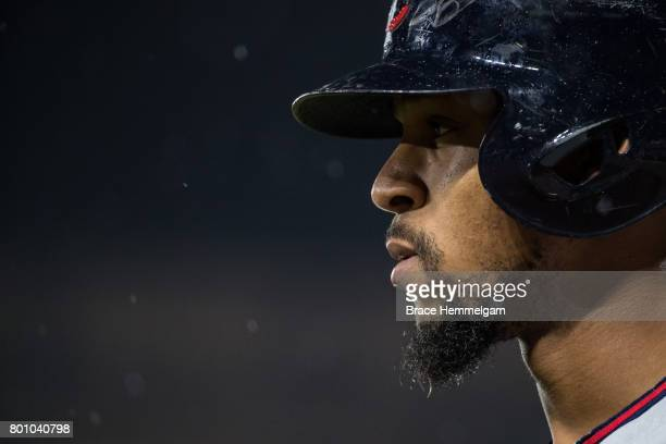 Byron Buxton of the Minnesota Twins looks on against the Baltimore Orioles on May 23 2017 at Oriole Park at Camden Yards in Baltimore Maryland The...