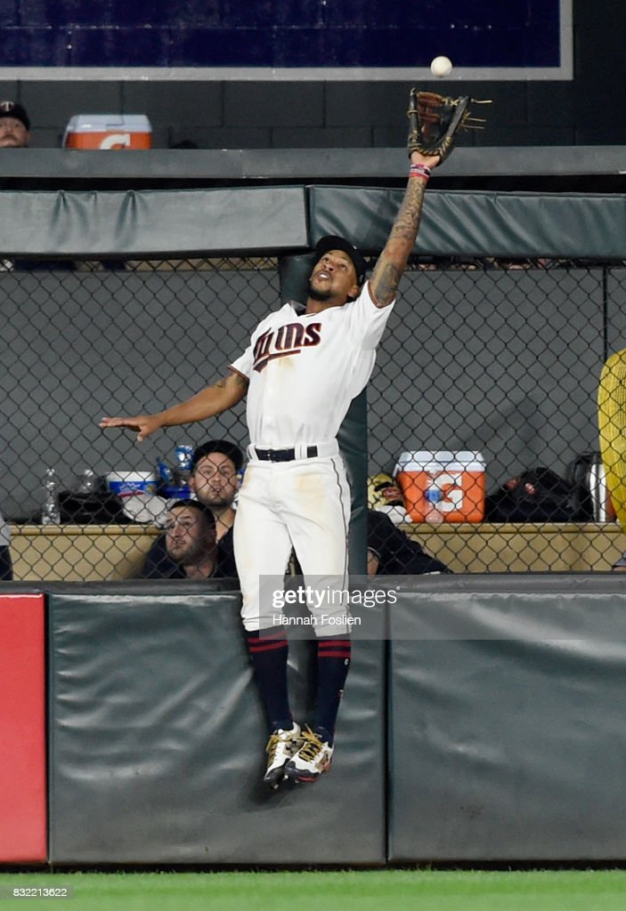 Byron Buxton #25 of the Minnesota Twins makes a catch in center field on a ball off the bat of Edwin Encarnacion #10 of the Cleveland Indians during the seventh inning of the game on August 15, 2017 at Target Field in Minneapolis, Minnesota. The Indians defeated the Twins 8-1.