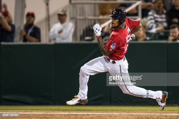 Byron Buxton of the Minnesota Twins runs against the Tampa Bay Rays on February 24 2017 at the CenturyLink Sports Complex in Fort Myers Florida