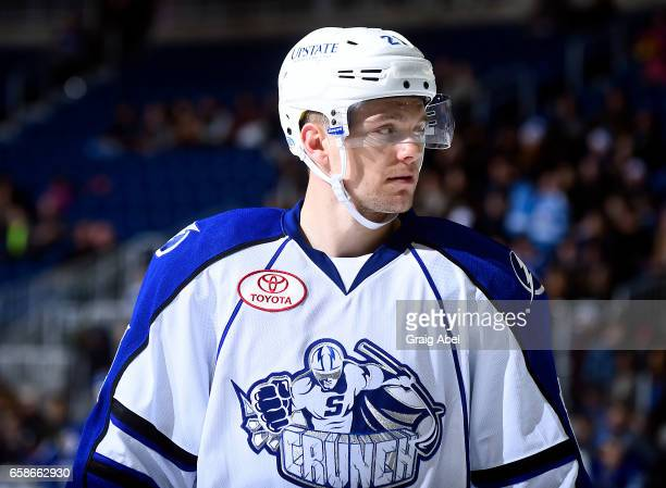 Byron Froese of the Syracuse Crunch prepares for a faceoff against the Toronto Marlies during AHL game action on March 26 2017 at Ricoh Coliseum in...