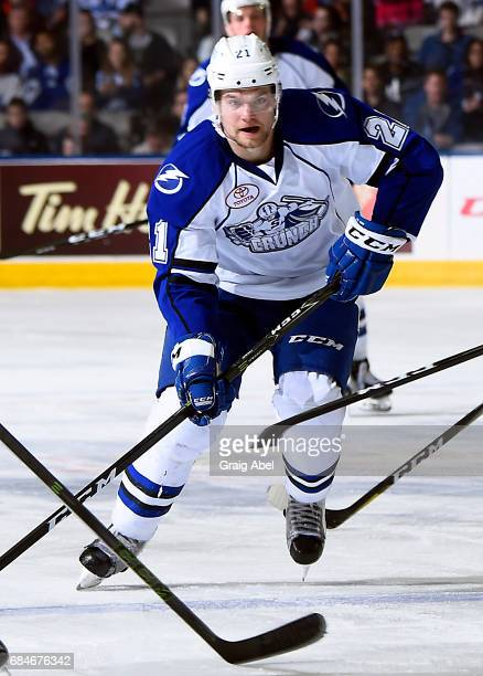 Byron Froese of the Syracuse Crunch skates up ice against the Toronto Marlies during game 6 action in the Division Final of the Calder Cup Playoffs...