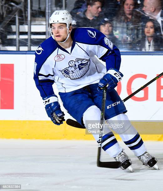 Byron Froese of the Syracuse Crunch turns up ice against the Toronto Marlies during game 4 action in the Division Final of the Calder Cup Playoffs on...