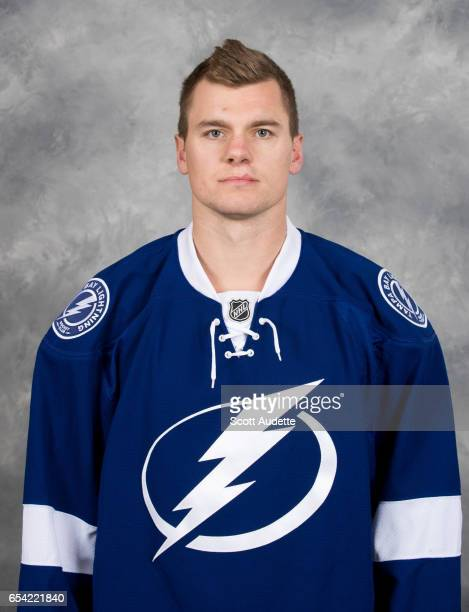 Byron Froese of the Tampa Bay Lightning poses for his official headshot at Amalie Arena on March 16 2017 in Tampa Florida