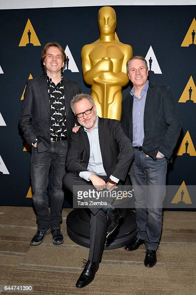 Byron Howard Rich Moore and Clark Spencer nominated for their film 'Zootopia' arrives to the 89th Annual Academy Awards Oscar Week reception for...