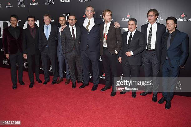 Byron Mann Finn Wittrock Michael Lewis Jeremy Strong Steve Carell Adam McKay Ryan Gosling Brad Grey Brad Pitt and John Magaro attend 'The Big Short'...