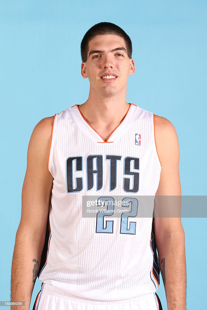 Byron Mullens of the Charlotte Bobcats poses for photo during media day on October 1 2012 at the Time Warner Cable Arena in Charlotte North Carolina...