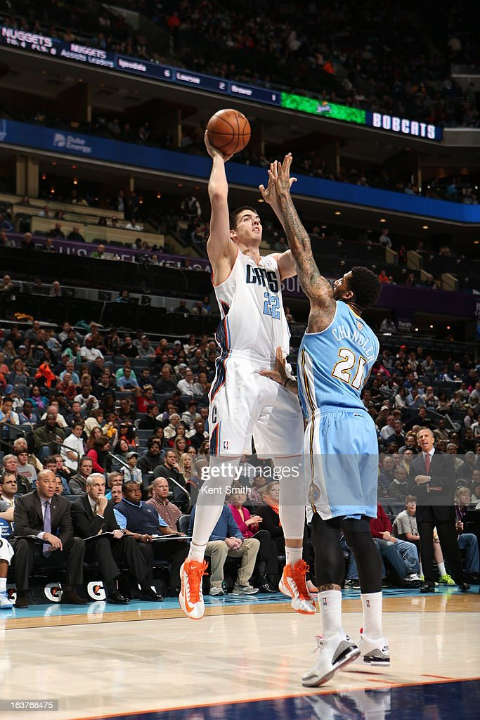 Byron Mullens #22 of the Charlotte Bobcats puts up a shot against the Denver Nuggets at the Time Warner Cable Arena on February 23, 2013 in Charlotte, North Carolina.