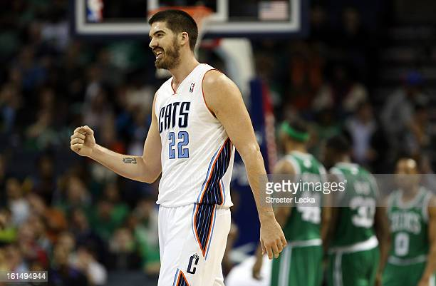 Byron Mullens of the Charlotte Bobcats reacts after a play during their game against the Boston Celtics at Time Warner Cable Arena on February 11...