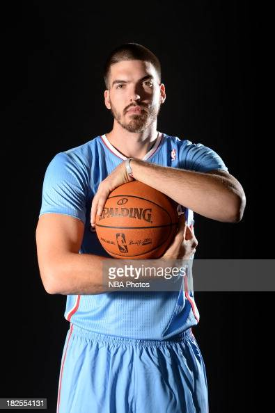 Byron Mullens of the Los Angeles Clippers poses for a picture during media day at the Clippers Training Center on September 30 2013 in Playa Vista...