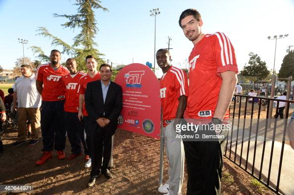 Byron Mullens of the Los Angeles Clippers poses for a picture during an NBA FIT event with the Los Angeles Clippers at the State Street Recreation...