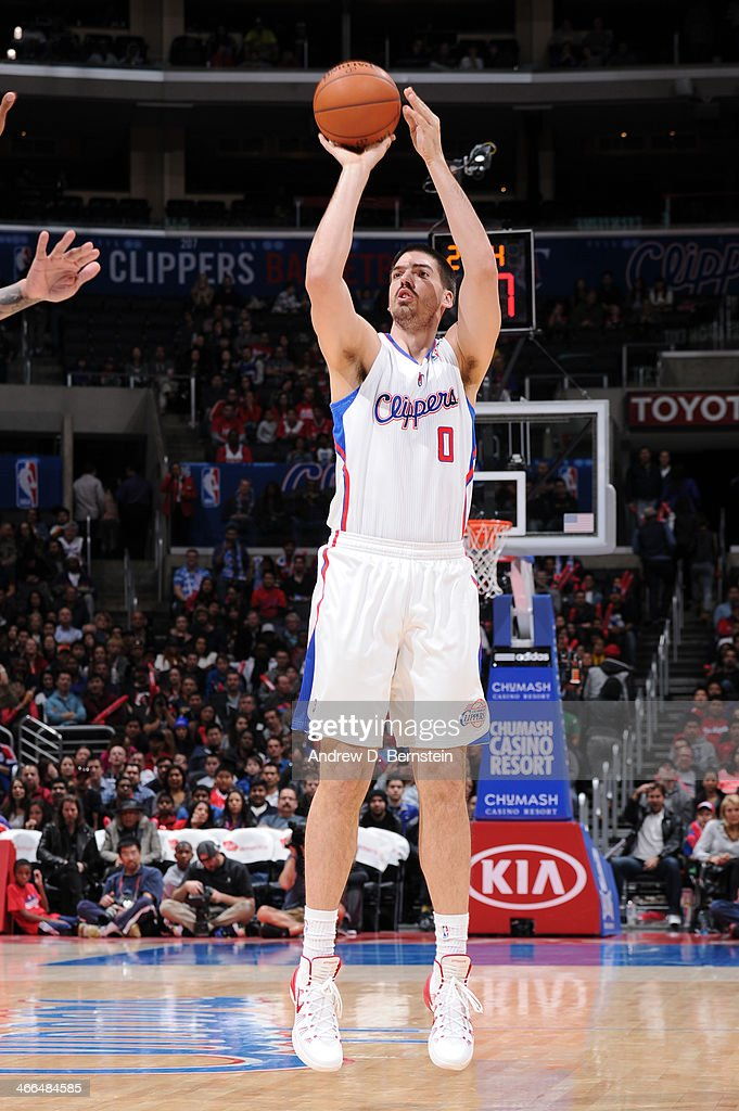 Byron Mullens of the Los Angeles Clippers shoots during a game against the Utah Jazz at STAPLES Center on February 1 2014 in Los Angeles California...