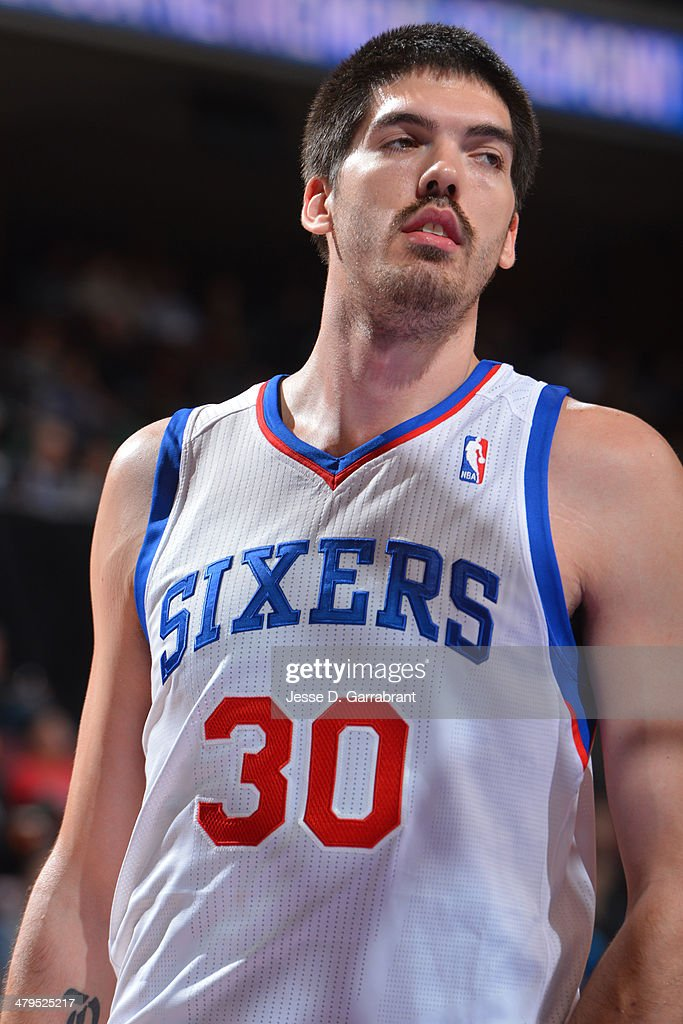 Byron Mullens of the Philadelphia 76ers on the court during the game against the Orlando Magic at the Wells Fargo Center on February 26 2014 in...