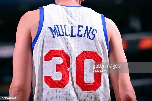 Byron Mullens of the Philadelphia 76ers stands on the court against the Milwaukee Bucks on February 24 2014 at the Wells Fargo Center in Philadelphia...