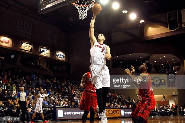 Byron Mullens of the Sioux Falls Skyforce dunks the ball against the Raptors 905 at the Sanford Pentagon December 22 2015 in Sioux Falls South Dakota...