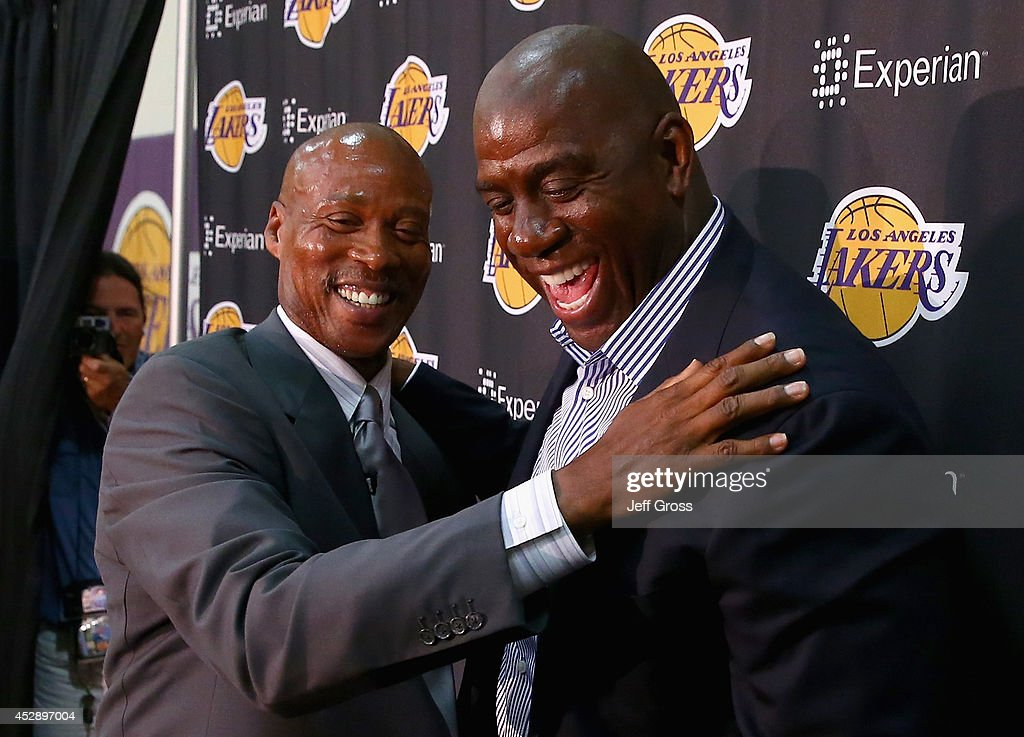 <a gi-track='captionPersonalityLinkClicked' href=/galleries/search?phrase=Byron+Scott+-+Basketbalcoach&family=editorial&specificpeople=209087 ng-click='$event.stopPropagation()'>Byron Scott</a> (L) and Earvin 'Magic' Johnson share a laugh during a press conference to introduce <a gi-track='captionPersonalityLinkClicked' href=/galleries/search?phrase=Byron+Scott+-+Basketbalcoach&family=editorial&specificpeople=209087 ng-click='$event.stopPropagation()'>Byron Scott</a> as the new head coach of the Los Angeles Lakers at Toyota Sports Center on July 29, 2014 in El Segundo, California.