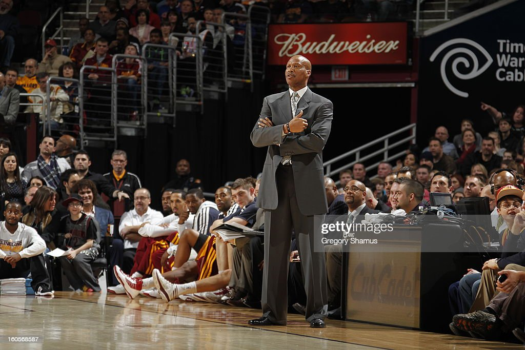 Byron Scott, Head Coach of the Cleveland Cavaliers, looks on during the game against the Oklahoma City Thunder at The Quicken Loans Arena on February 2, 2013 in Cleveland, Ohio.