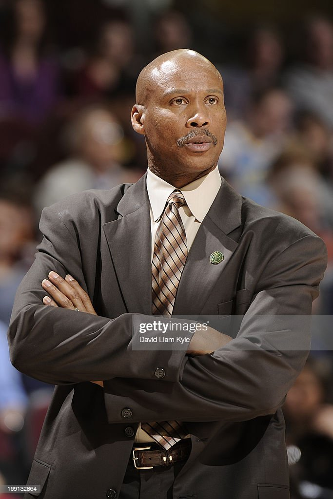 <a gi-track='captionPersonalityLinkClicked' href=/galleries/search?phrase=Byron+Scott+-+Basketball+Coach&family=editorial&specificpeople=209087 ng-click='$event.stopPropagation()'>Byron Scott</a>, Head Coach of the Cleveland Cavaliers, looks on during the game against the Orlando Magic at The Quicken Loans Arena on April 7, 2013 in Cleveland, Ohio.