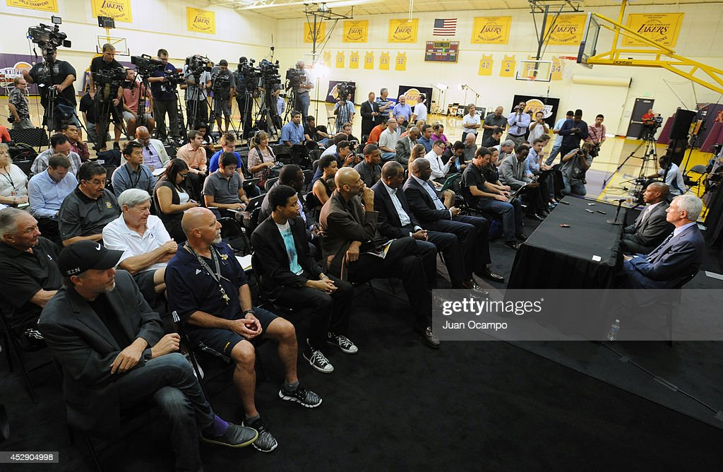 <a gi-track='captionPersonalityLinkClicked' href=/galleries/search?phrase=Byron+Scott+-+Basketball+Coach&family=editorial&specificpeople=209087 ng-click='$event.stopPropagation()'>Byron Scott</a>, new head coach of the Los Angeles Lakers, is introduced during a press conference on July 29, 2014 at Toyota Sports Center in El Segundo, California.