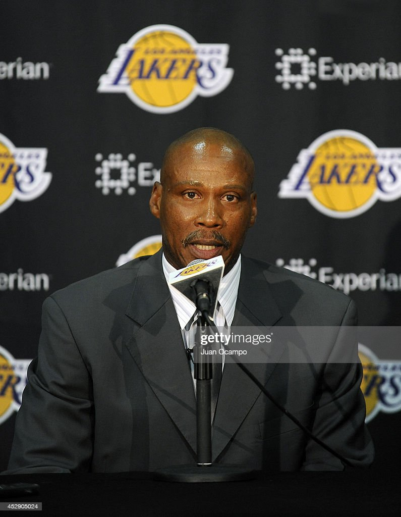 <a gi-track='captionPersonalityLinkClicked' href=/galleries/search?phrase=Byron+Scott+-+Basketball+Coach&family=editorial&specificpeople=209087 ng-click='$event.stopPropagation()'>Byron Scott</a>, new head coach of the Los Angeles Lakers, speaks to the media during a press conference on July 29, 2014 at Toyota Sports Center in El Segundo, California.