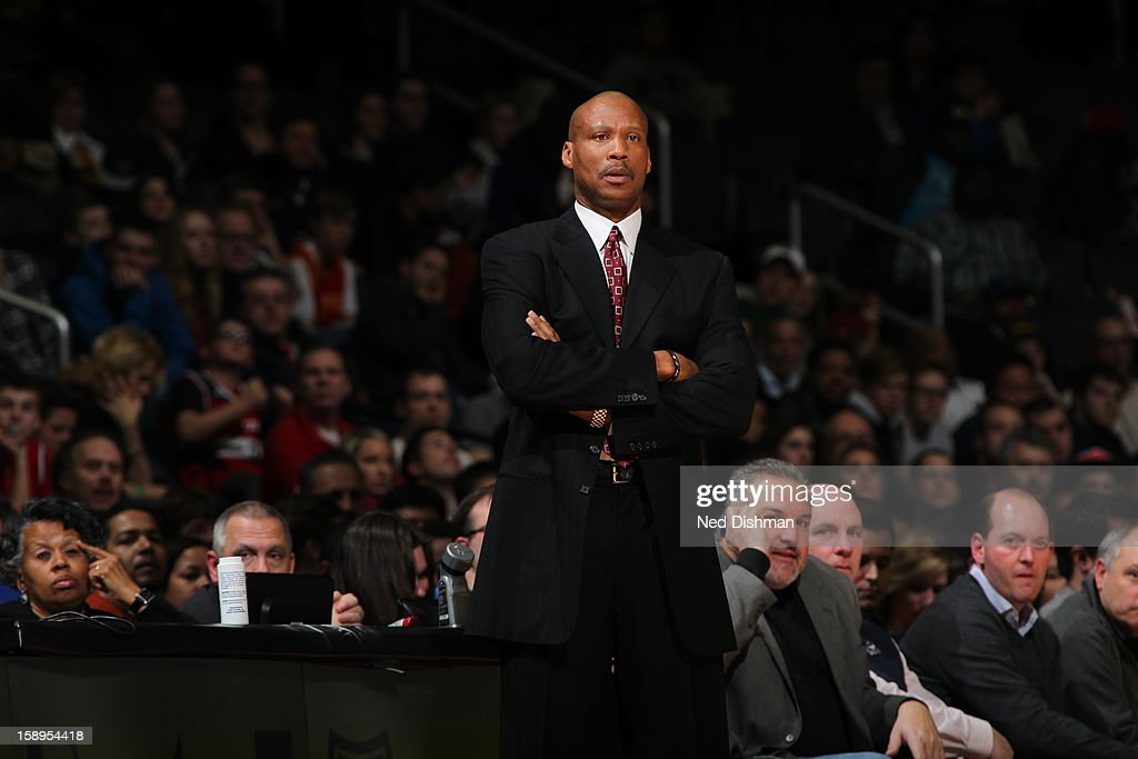<a gi-track='captionPersonalityLinkClicked' href=/galleries/search?phrase=Byron+Scott+-+Basketball+Coach&family=editorial&specificpeople=209087 ng-click='$event.stopPropagation()'>Byron Scott</a> of the Cleveland Cavaliers looks on as his team as they play against the Washington Wizards at the Verizon Center on December 26, 2012 in Washington, DC.