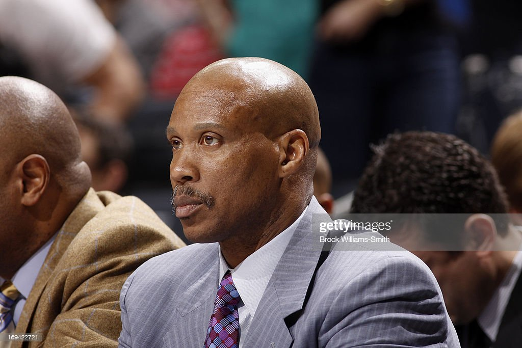 Byron Scott of the Cleveland Cavaliers sits on the bench during the game against the Charlotte Bobcats at the Time Warner Cable Arena on April 17, 2013 in Charlotte, North Carolina.
