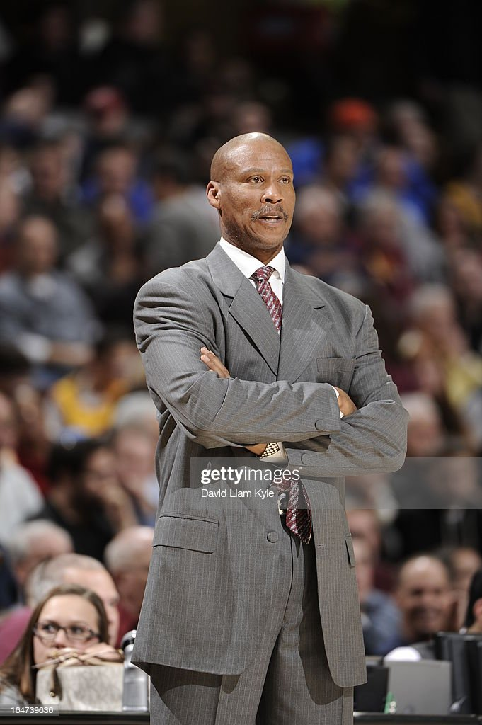 <a gi-track='captionPersonalityLinkClicked' href=/galleries/search?phrase=Byron+Scott+-+Basketball+Coach&family=editorial&specificpeople=209087 ng-click='$event.stopPropagation()'>Byron Scott</a> of the Cleveland Cavaliers stands by the bench during the game against the Indiana Pacers at The Quicken Loans Arena on March 18, 2013 in Cleveland, Ohio.