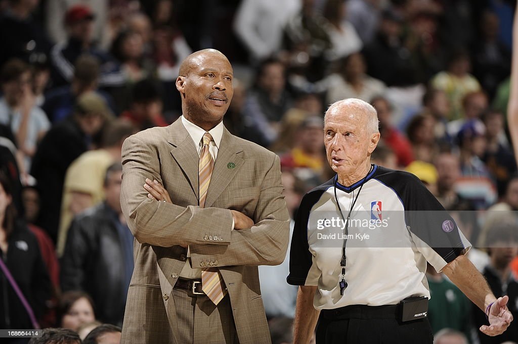 <a gi-track='captionPersonalityLinkClicked' href=/galleries/search?phrase=Byron+Scott+-+Basketball+Coach&family=editorial&specificpeople=209087 ng-click='$event.stopPropagation()'>Byron Scott</a> of the Cleveland Cavaliers stands on the court during the game against the Detroit Pistons at The Quicken Loans Arena on April 10, 2013 in Cleveland, Ohio.