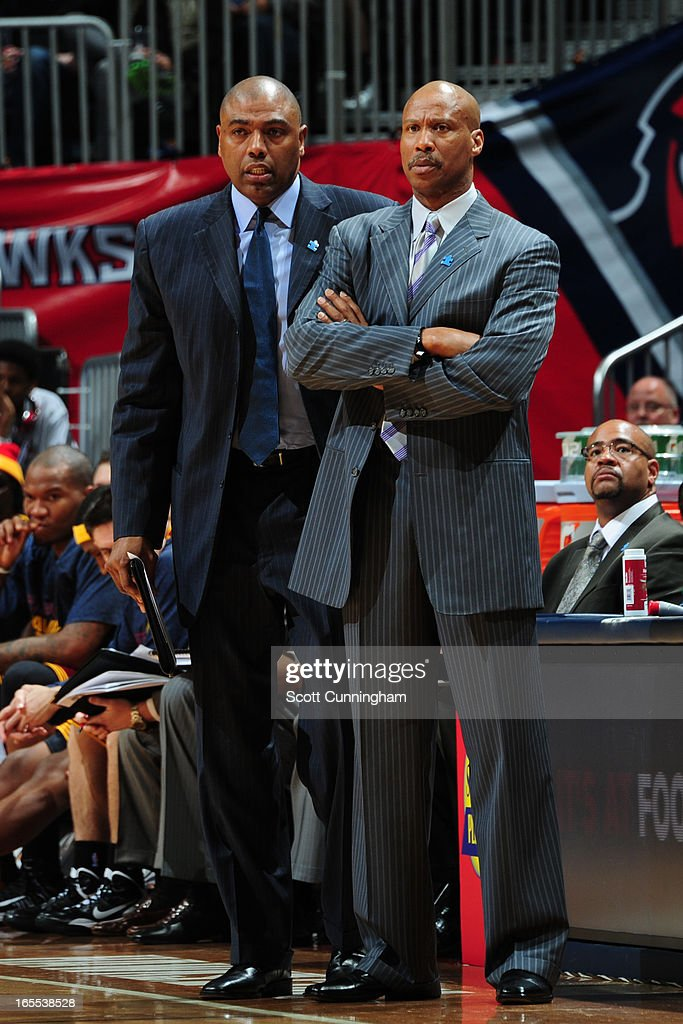 <a gi-track='captionPersonalityLinkClicked' href=/galleries/search?phrase=Byron+Scott+-+Basketball+Coach&family=editorial&specificpeople=209087 ng-click='$event.stopPropagation()'>Byron Scott</a> of the Cleveland Cavaliers stands on the sideline during the game against the Atlanta Hawks on April 1, 2013 at Philips Arena in Atlanta, Georgia.