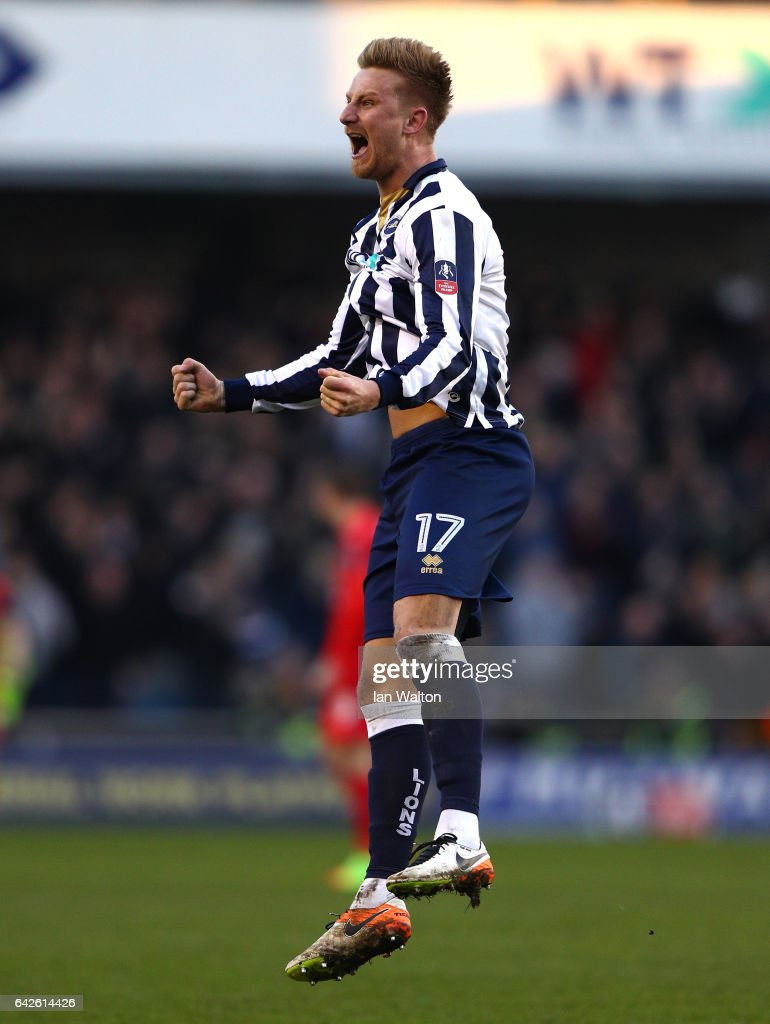 Byron Webster of Millwall celebrates his sdies first goal during The Emirates FA Cup Fifth Round match between Millwall and Leicester City at The Den on February 18, 2017 in London, England.