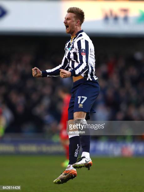 Byron Webster of Millwall celebrates his sdies first goal during The Emirates FA Cup Fifth Round match between Millwall and Leicester City at The Den...