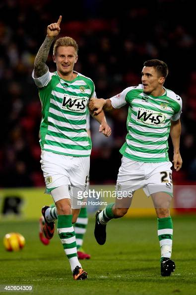 Byron Webster of Yeovil celebrates after opening the scoring during the Sky Bet Championship match between Watford and Yeovil Town at Vicarage Road...