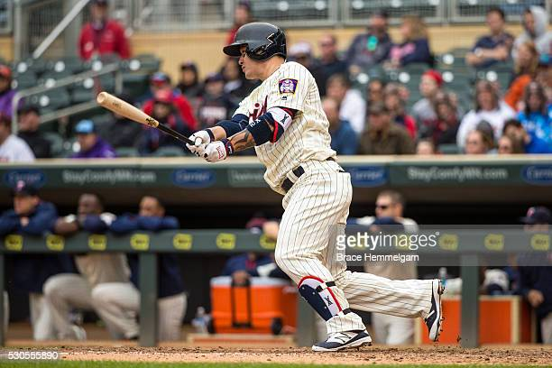 Byung Ho Park of the Minnesota Twins bats against the Detroit Tigers on April 30 2016 at Target Field in Minneapolis Minnesota The Tigers defeated...