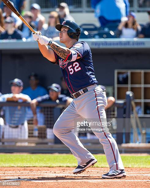 Byung Ho Park of the Minnesota Twins bats and hits a grand slam against the Tampa Bay Rays on March 2 2016 at Charlotte Sports Park in Port Charlotte...
