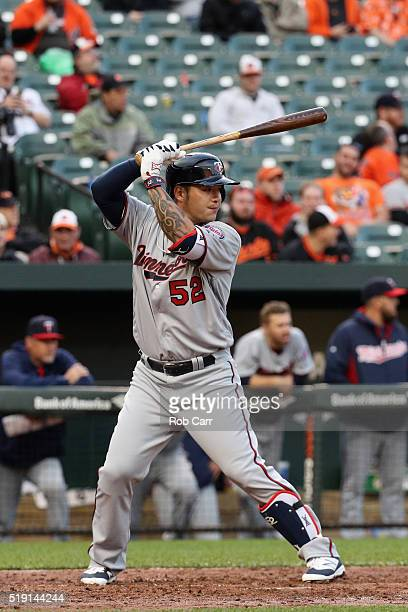 Byung Ho Park of the Minnesota Twins bats in the fifth inning against the Baltimore Orioles during their Opening Day game at Oriole Park at Camden...