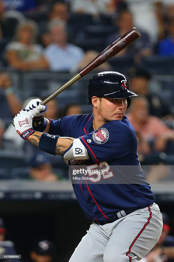 Byung Ho Park #52 of the Minnesota Twins bats in the ninth inning against the New York Yankees at Yankee Stadium on June 24, 2016 in the Bronx borough of New York City. Yankees defeated the Twins 5-3.