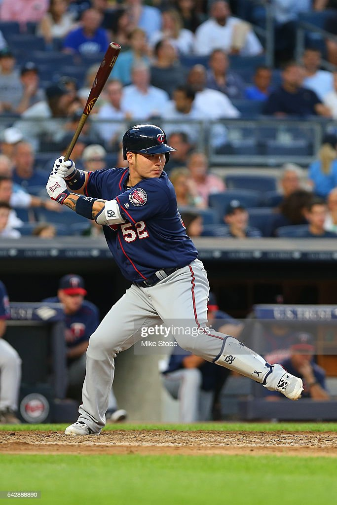 Byung Ho Park #52 of the Minnesota Twins bats in the sixth inning against the New York Yankees at Yankee Stadium on June 24, 2016 in the Bronx borough of New York City. Yankees defeated the Twins 5-3.