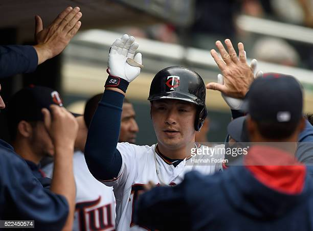 Byung Ho Park of the Minnesota Twins celebrates a solo home run against the Milwaukee Brewers during the eighth inning of the game on April 19 2016...