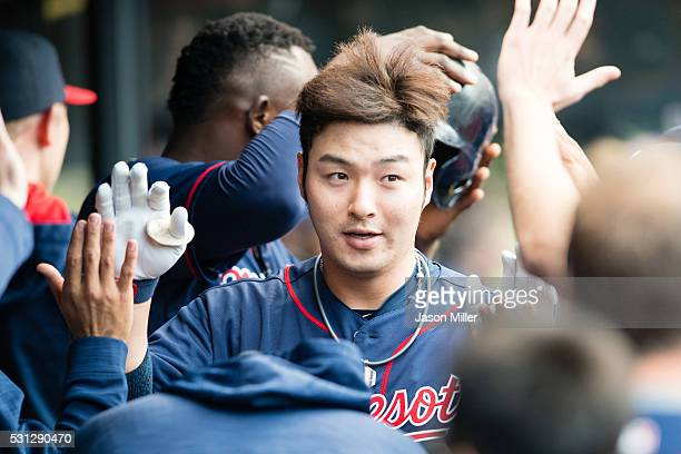 Byung Ho Park of the Minnesota Twins celebrates after hitting a solo home run during the second inning against the Cleveland Indians at Progressive...